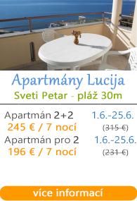 Apartmány Lucija Sveti Petar