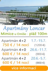Apartmány Loncar Mimice u Omiae
