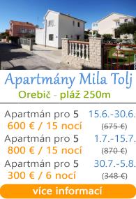 Apartmány Mila Tolj - Orebič - Pelješac