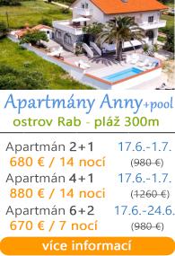 Apartmány Anny - ostrov Rab