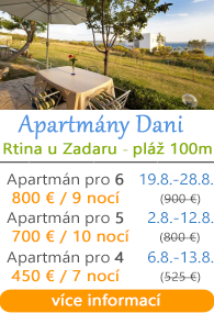 Apartmány Dani - Rtina u Zadaru