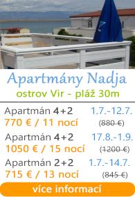 Apartmány Nadja - ostrov Vir