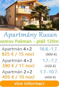 Apartmány Rusan - ostrov Pašman