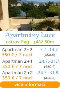 Apartmány Luce - ostrov Pag