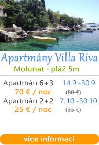 Apartmány Villa Riva Molunat u Dubrovniku