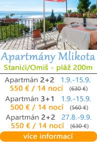 Apartmány Mlikota - Stanići u Omiae