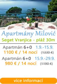 Apartmány Milović - Seget Vranjica